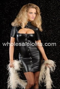 New Black Elastic PVC Leather Catsuit Club Dress