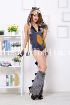 2014 New Female Dinosaur Cosplay Animal Fur Halloween Costume