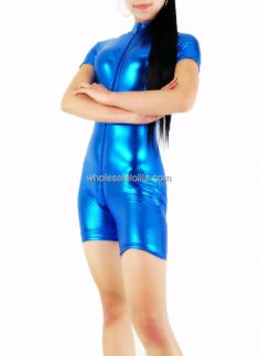Blue Half Body Shiny Metalic CatSuit
