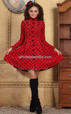 Autumn Red Single-breasted Dotted Casual Lolita Outfit