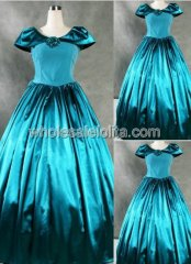 Fancy Teal Satin Cap Sleeve Southern Belle Ball Gown Wedding Prom Dress