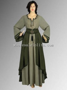 Medieval Costume European-Style Saxon Dress Natural Cotton Handmade Maiden Gown Renaissance Clothing