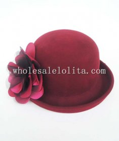 New Arrival Wine Red/Black Wool Flower Bowler Hat for Women