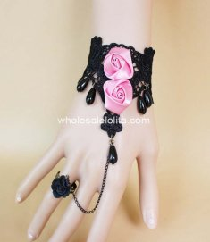 Black Lace Pearl Pink Rose Ladies Bracelet & Ring
