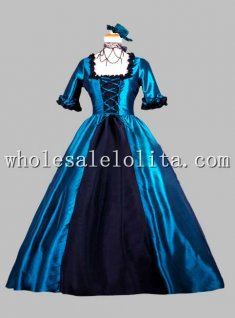 Gothic Blue and Black Victorian Era Dress Historical Stage Costume
