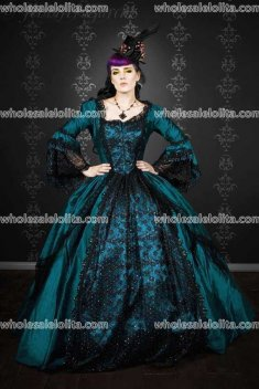 Gothic Royal Blue Marie Antoinette Peacock Fantasy Gown Costume Custom