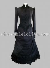 Elegant Long Sleeves Gothic Black 19th Century Victorian Bustle Dress
