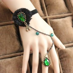 Vintage Lace Bracelet and Ring Green Cristal Bracelet