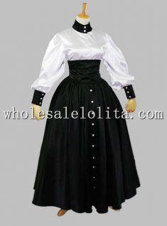 Three-piece Black and White Victorian Maid / Housekeeper Cosplay Costume