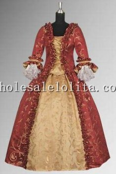 Custom Made 17th Century Red & Gold Baroque Renaissance Dress Handmade in Baroque Damask