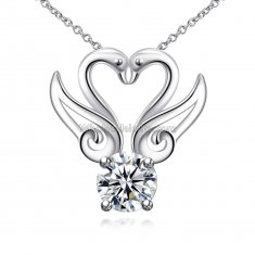 Fashionable Platinum Necklace with Double Swan Pendant for Versatile Occasions