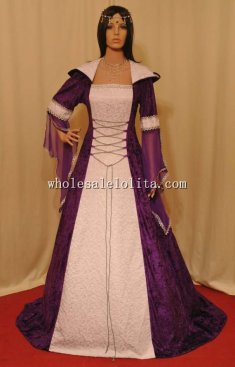 Purple and White Medieval Handfasting Renaissance Dress Custom Made