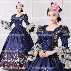 Brand New Dark Blue Lace Printed Marie Antoinette Dress Southern Belle Victorian Period Ball Gown Reenactment Women Clothing