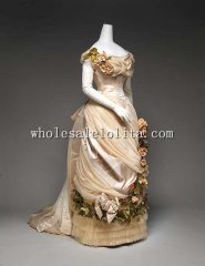 1880s Late Victorian Bustle French Silk Evening Dress Wedding Dress