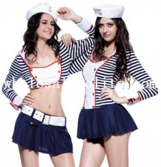 Halloween Blue and White Stripes Sexy Sailor Costume for Women 2 Styles