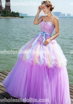 Fashion A-Line Floor Length Stripes Stage Performance Light Purple Ball Gown Dresses