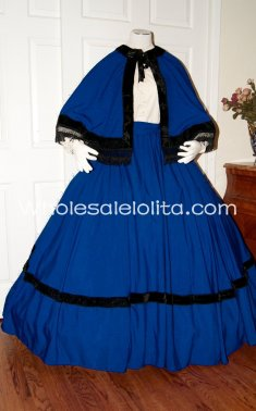 Blue Civil War Reenactment Dickens Victorian Period Dress Christmas Carol Costume