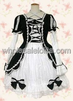Black And White Cross Straps Bow Cotton Gothic Lolita Dress