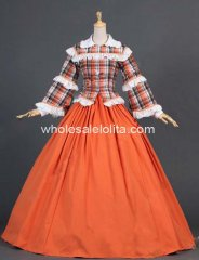 New Orange Civil War Tartan Blouse Reenactment Period Formal Dress Theater Clothing