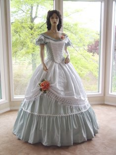 Civil War Ball/Wedding Gown green Bengaline and White Brocade