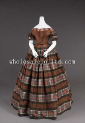 1850s American Silk Subdued Plain Stripes Victorian Evening Dress
