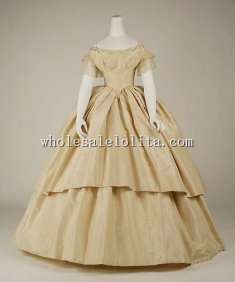 19th Century Period Dress - Late 1850s Civil War Victorian Ball Gown Wedding Dress