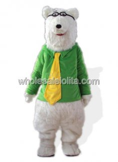 Adult Polar Bear Mascot Costume in Green Clothing