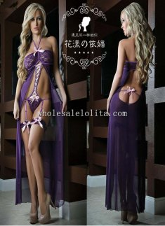 Elegant Hatler Long Gown Flyaway Cut Out Garter Sexy Chemise