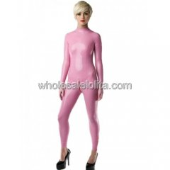 Ladies Pink Latex Catsuit without Feet Encased