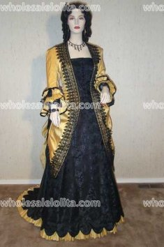 Black Rose Brocade and Golden Silk Dupioni Victorian Evening Gown