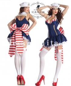Sexy Blue and Red Stripes Big Bow Female Navy/Sailor Halloween Costume Dress