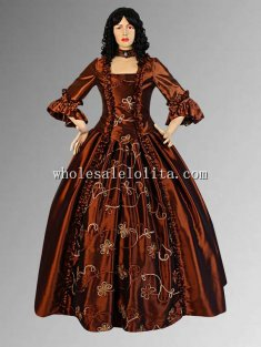 Medieval Renaissance Baroque Handmade Brown Dress with Choker Necklace Multiple Colors Available
