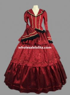Historical Deep Red Brocade & Cotton Civil War Victorian Ball Gown Period Dress