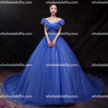 Royal Blue Organza Princess Dress Ball Gown Cinderella Dress