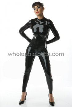 Female Black Back Zipper Latex Catsuit without Feet Encased