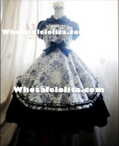 Fake Two-pieces Cotton Floral Classic Lolita Dress