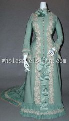 19th Century Period Dress- 1890 Late Victorian Bustle Era Tea Gown