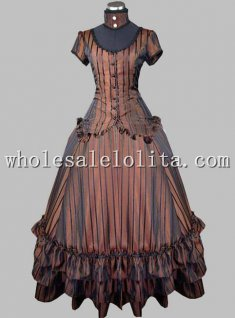 Two Piece Gothic Brown Vertical Stripes Euro Court Dress Ball Gown