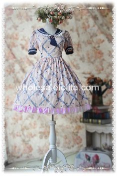 Short Sleeves Summer OP Cotton Sailor Lolita Dress
