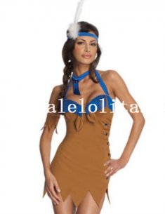 Halloween Sexy Khaki Adult Indian Cosplay Costume Dress for Women
