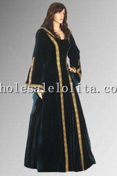 Renaissance Maiden Dress Gown with Hood Handmade from Velvet Multiple Colors Available