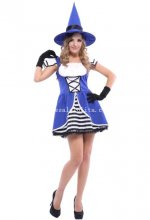 Fresh Blue Adult Witch Halloween Costume Masquerade Party Dress