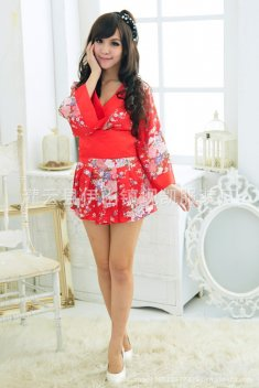 Sexy Red and White Flowers Kimono 6070