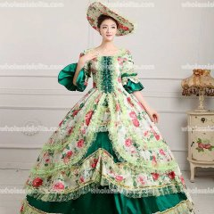 18th Century Rococo Style Marie Antoinette Inspired Prom Dress Wedding Ball Gown DEEP GREEN