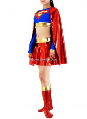 new Trendy Sexy Lycra Glueing Supergirl Costume