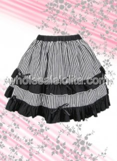 Black Double layer Cotton Lolita Skirt with Ruffled Borders