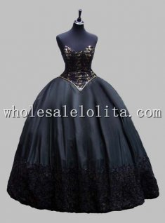 Gothic Black and Gold Corset Top Sleeveless Victorian Ball Gown