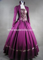 Gothic Plum Cotton and Brocade Victorian Prom Dress Period Gown Reenactor Theatre Clothing