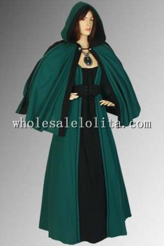 100% Natural Cotton Handmade Green Renaissance Cloak Costume Cape