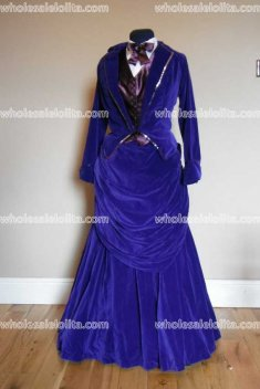 Blue Velvet Victorian Bustle Dress